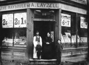 Arthur and Lucy Layzell with sons Amos and Sidney 80 Maysoule Rd., Battersea circa 1882-5 submitted by Michael Layzell